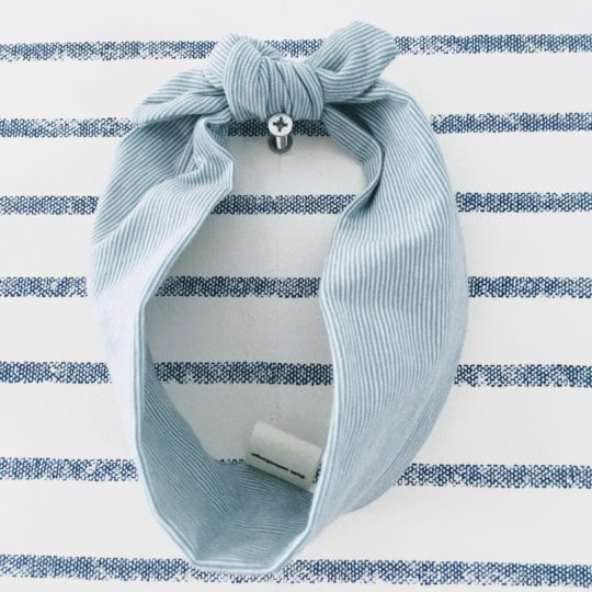 du vent dans mes valises - bandeau extensible enfant adulte jersey rayé coton blanc rayures bleues made in France