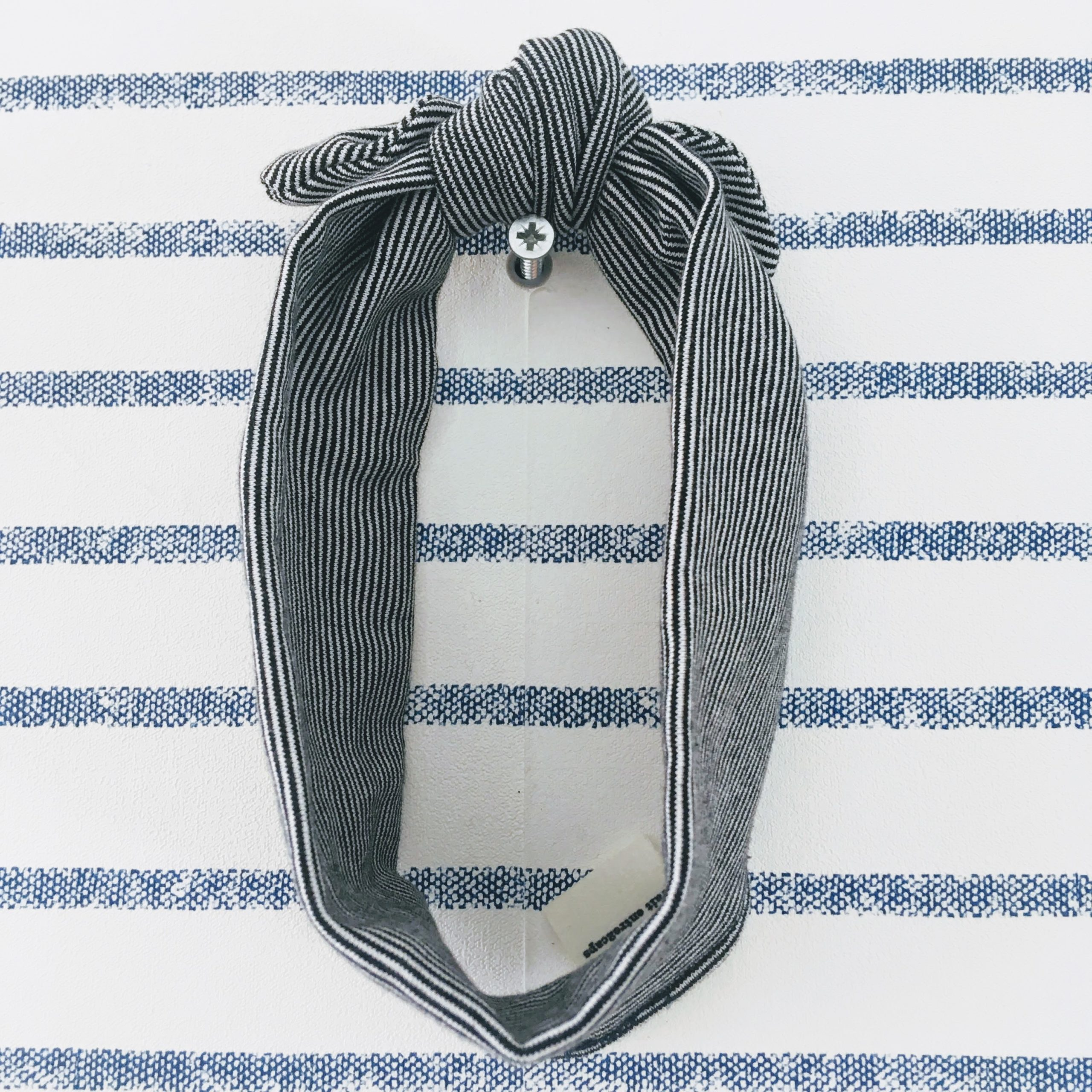 du vent dans mes valises - bandeau extensible enfant adulte jersey rayé coton blanc rayures noir made in France