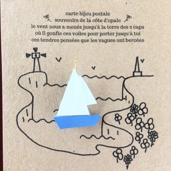 du vent dans mes valises - carte bijou postale les voiles broche voilier upcycled en cuir et poésie made in France