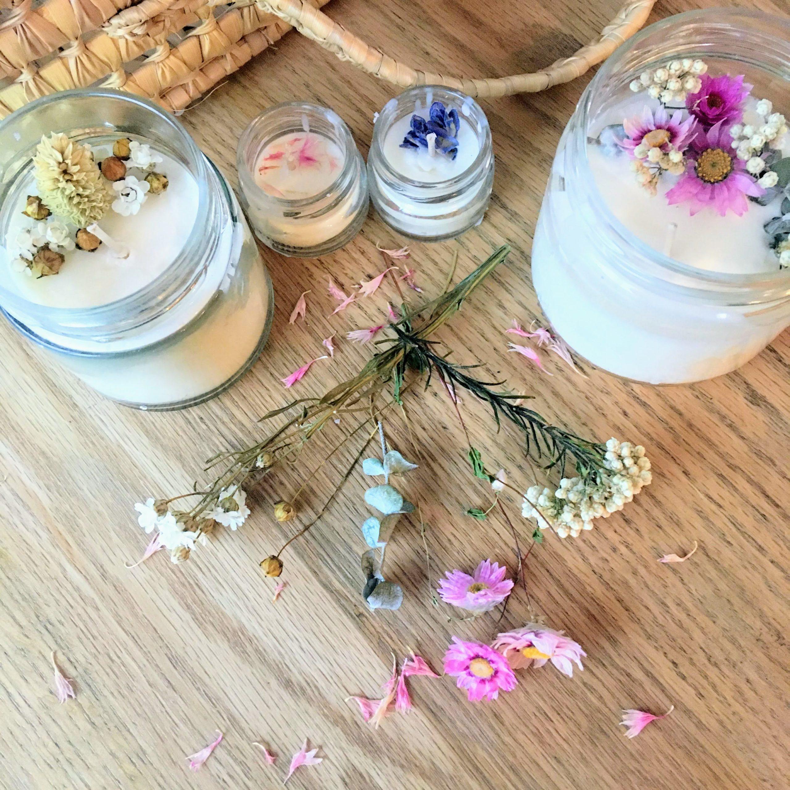 atelier créatif bougie fleurs séchées - du vent dans mes valises