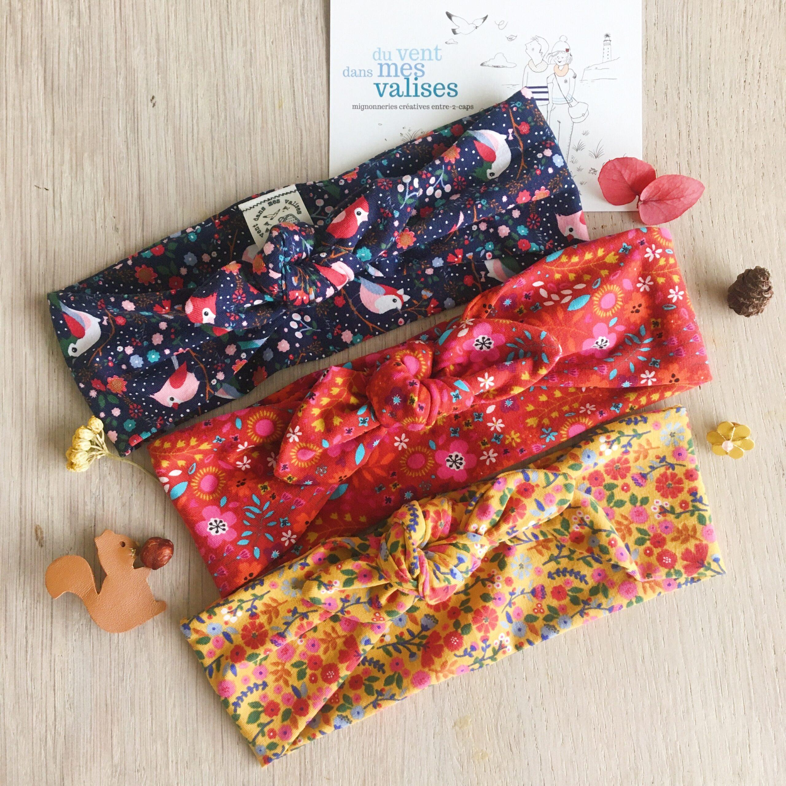 bandeau femme et fille fleuris folk bohème chic confection artisanale française en coton doux - du vent dans mes valises