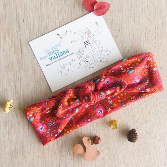 bandeau femme et fille fleurs folk rouge confection artisanale made in France en coton doux extensible - du vent dans mes valises