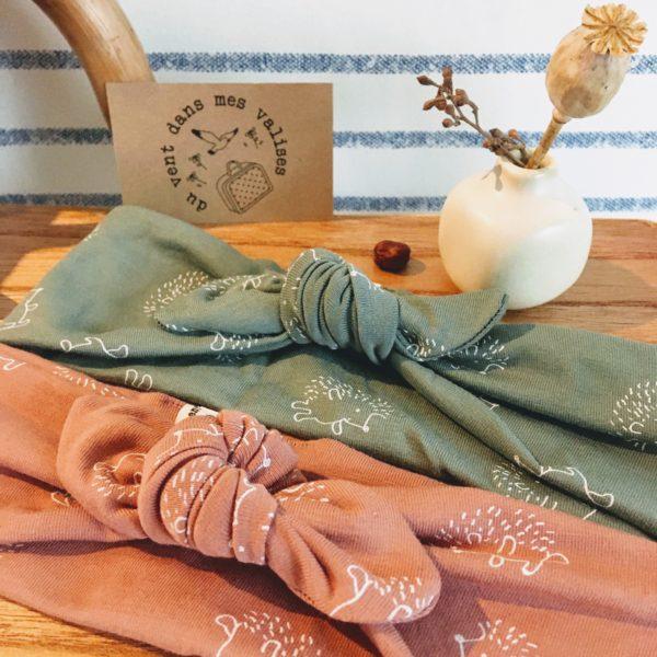 bandeaux extensibles et adaptables coton hérissons vieux rose et vert sauge made in France - du vent dans mes valises