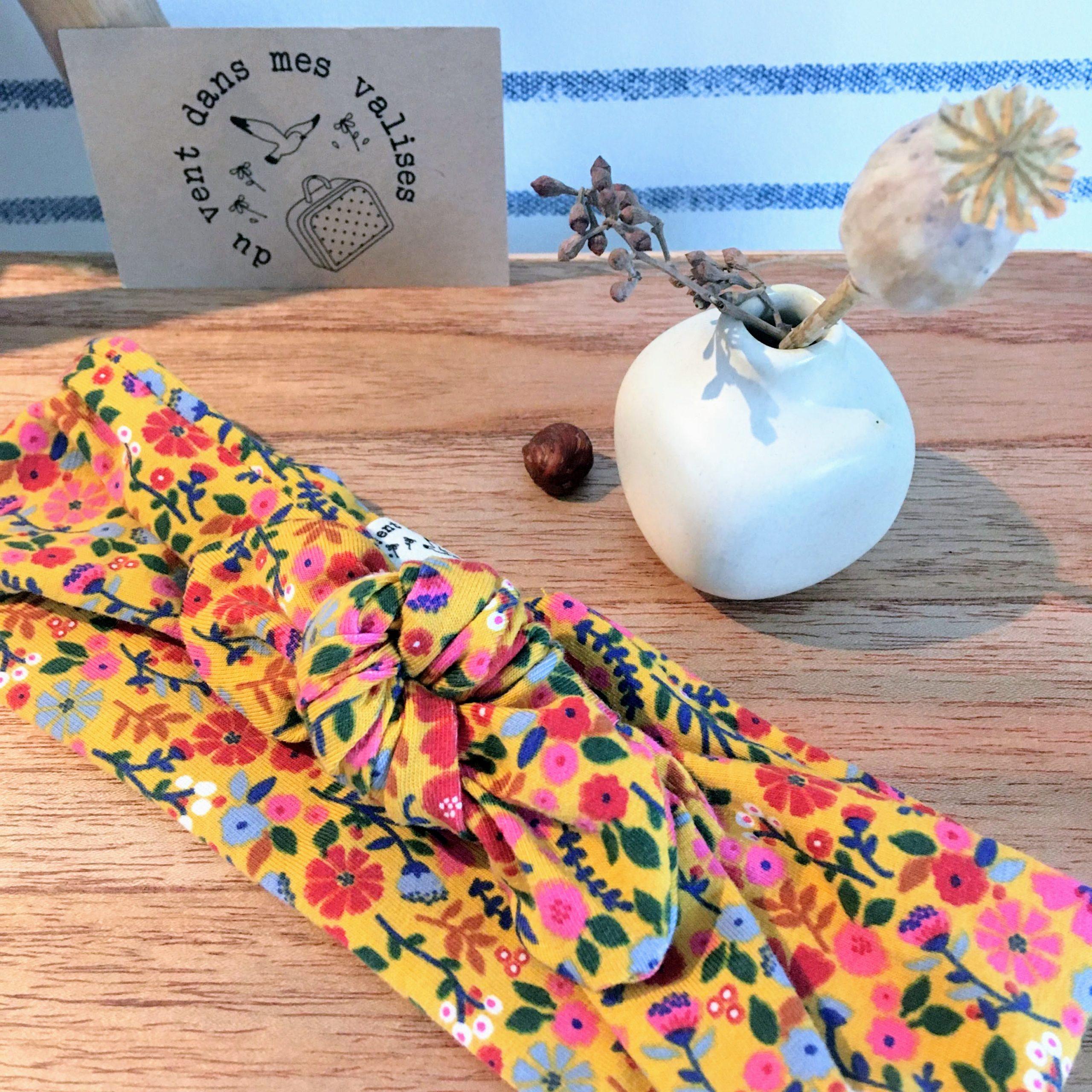bandeaux extensibles et adaptables coton fleurs automne folk made in France - du vent dans mes valises