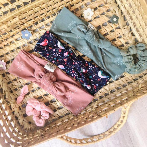 bandeaux filles extensibles jersey de coton collection animaux de la forêt automne folk made in France - du vent dans mes valises