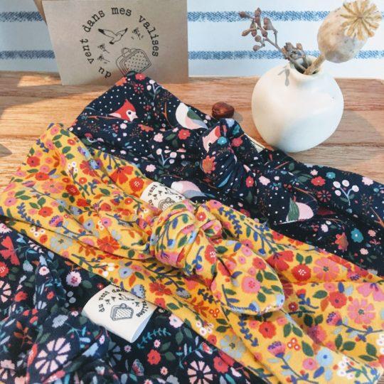 bandeaux filles extensibles jersey de coton fleurs curry marine automne folk made in France - du vent dans mes valises