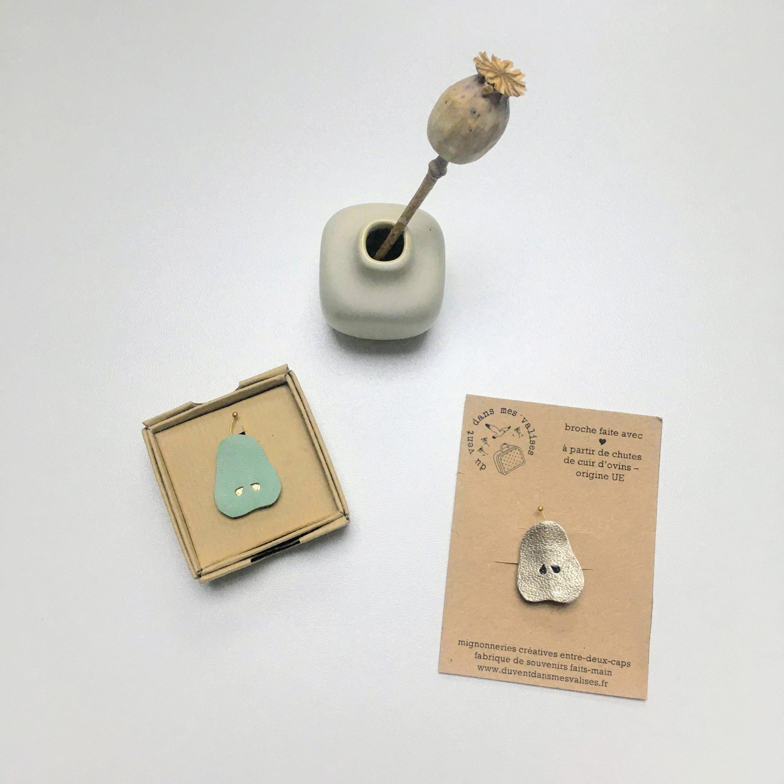 broche en cuir poétique douces poires made in France - du vent dans mes valises