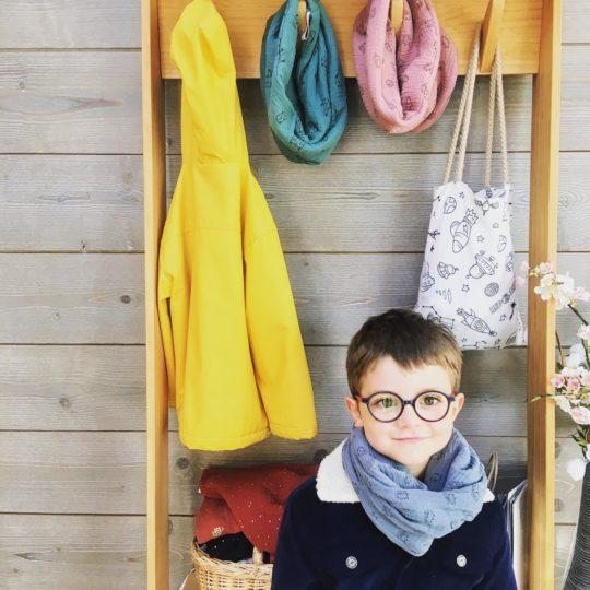 snood enfant hiver doublé polaire de coton bio double gaze made in france - du vent dans mes valises