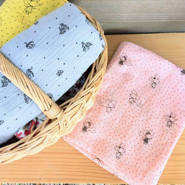 snood filles petites souris roses made in France en double gaze - du vent dans mes valises