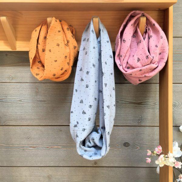 snood filles petites fleurs made in France en double gaze - du vent dans mes valises