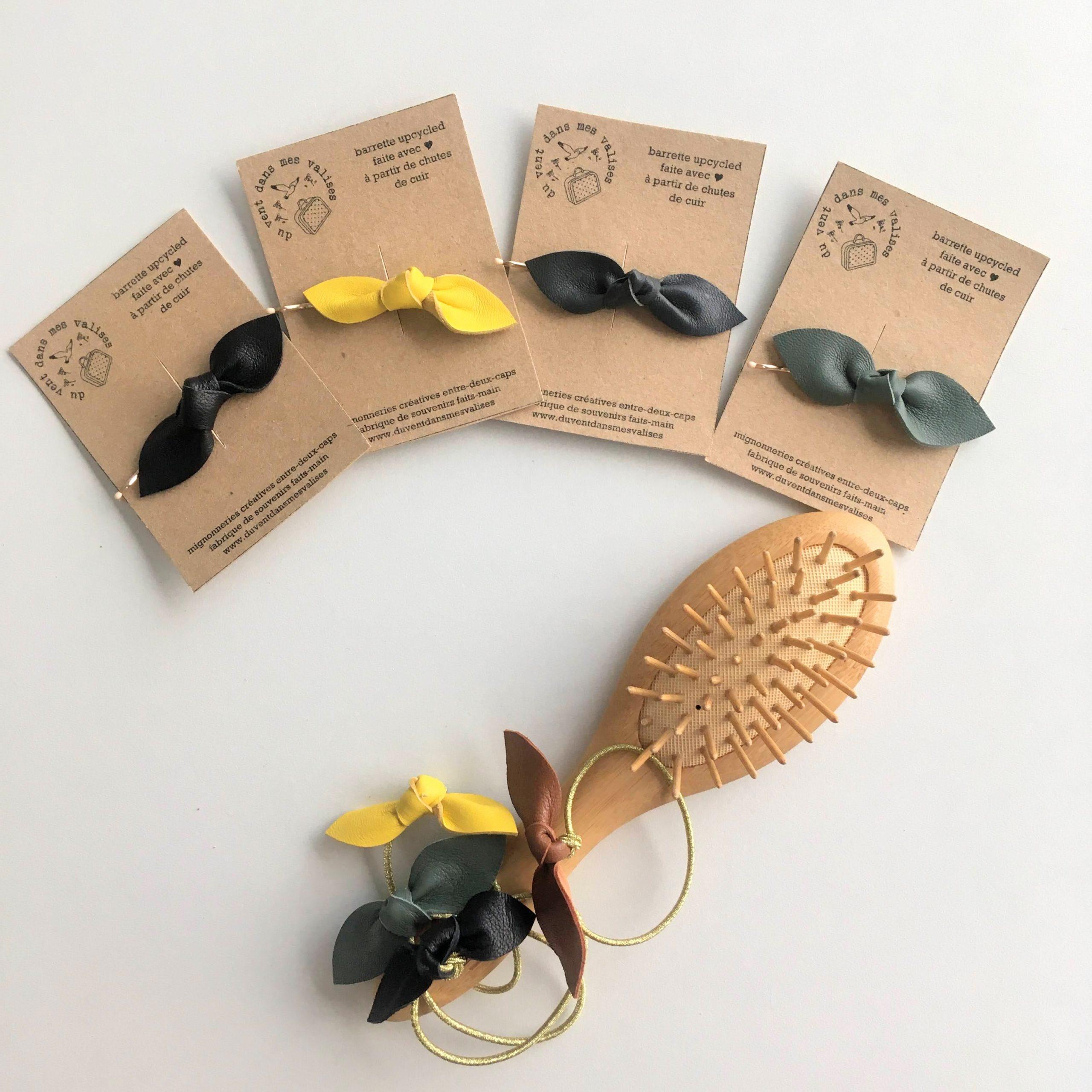 accessoires cheveux made in france en cuir couleurs feuilles - du vent dans mes valises