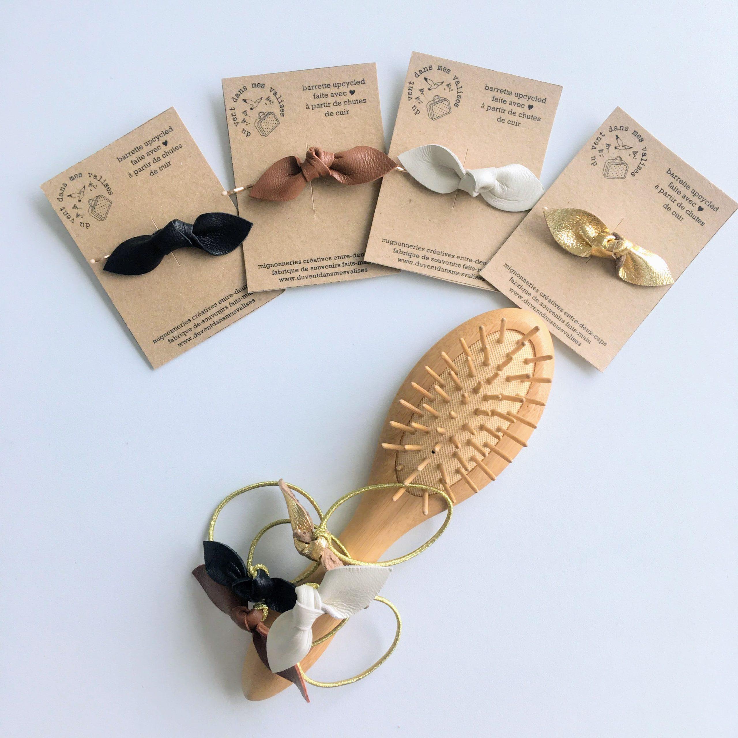 accessoires cheveux made in france en cuir couleurs itemporelles marron, noir, ivoire, doré - du vent dans mes valises