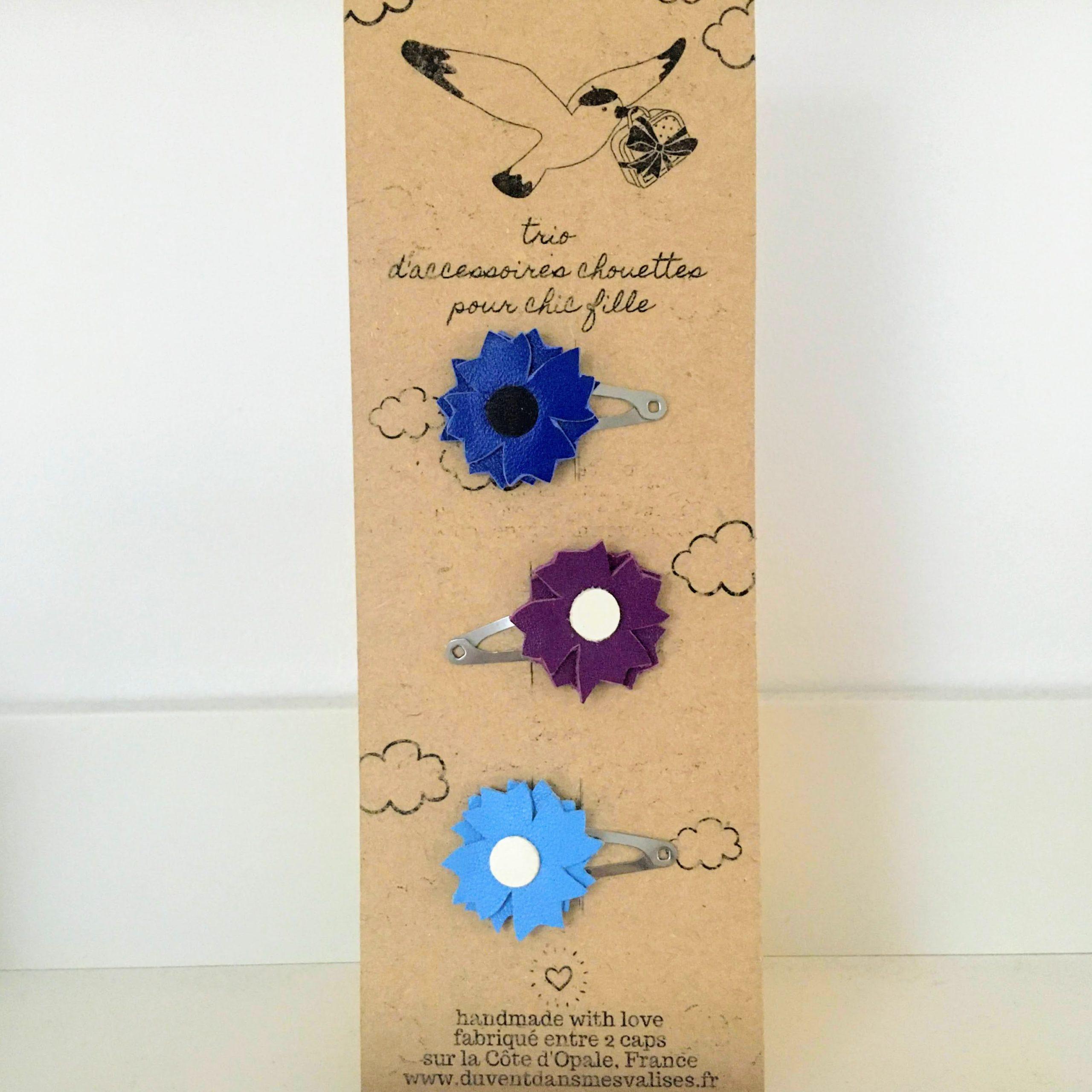 barrettes fleurs bleuets en cuir made in France - du vent dans mes valises