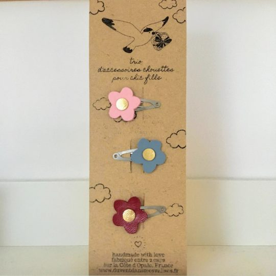barrettes fleurs personnalisables en cuir made in France - du vent dans mes valises
