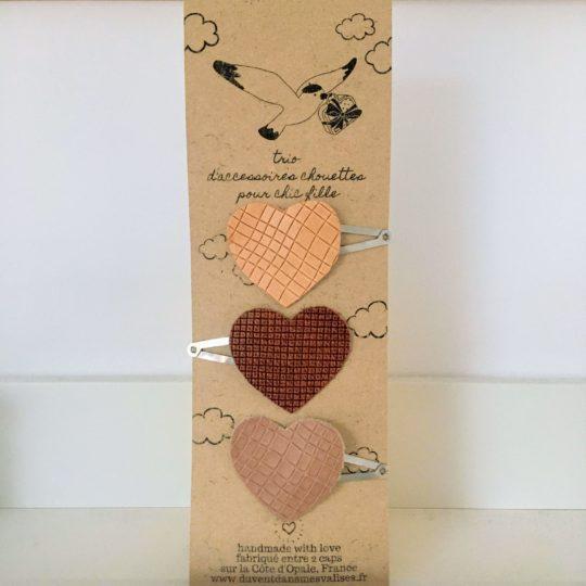 barrettes petits coeurs en cuir made in France - du vent dans mes valises