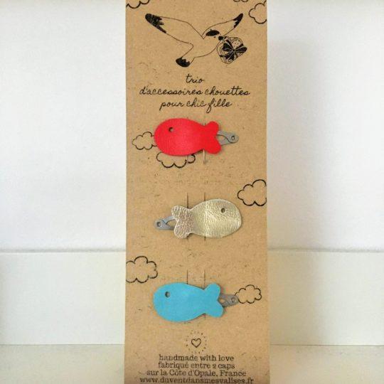 barrettes filles poissons cuir made in France - du vent dans mes valises
