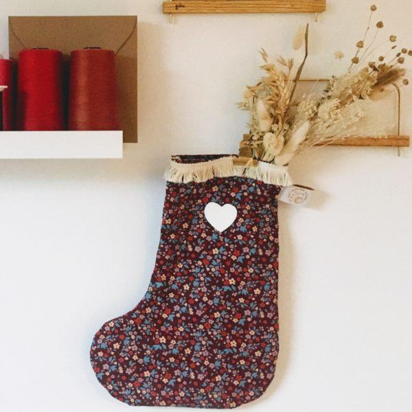 bottes de Noël avec fleurs séchées en coton made in France - du vent dans mes valises