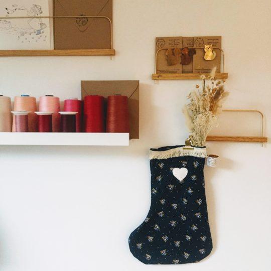 bottes de Noël fleuries en coton made in France - du vent dans mes valises
