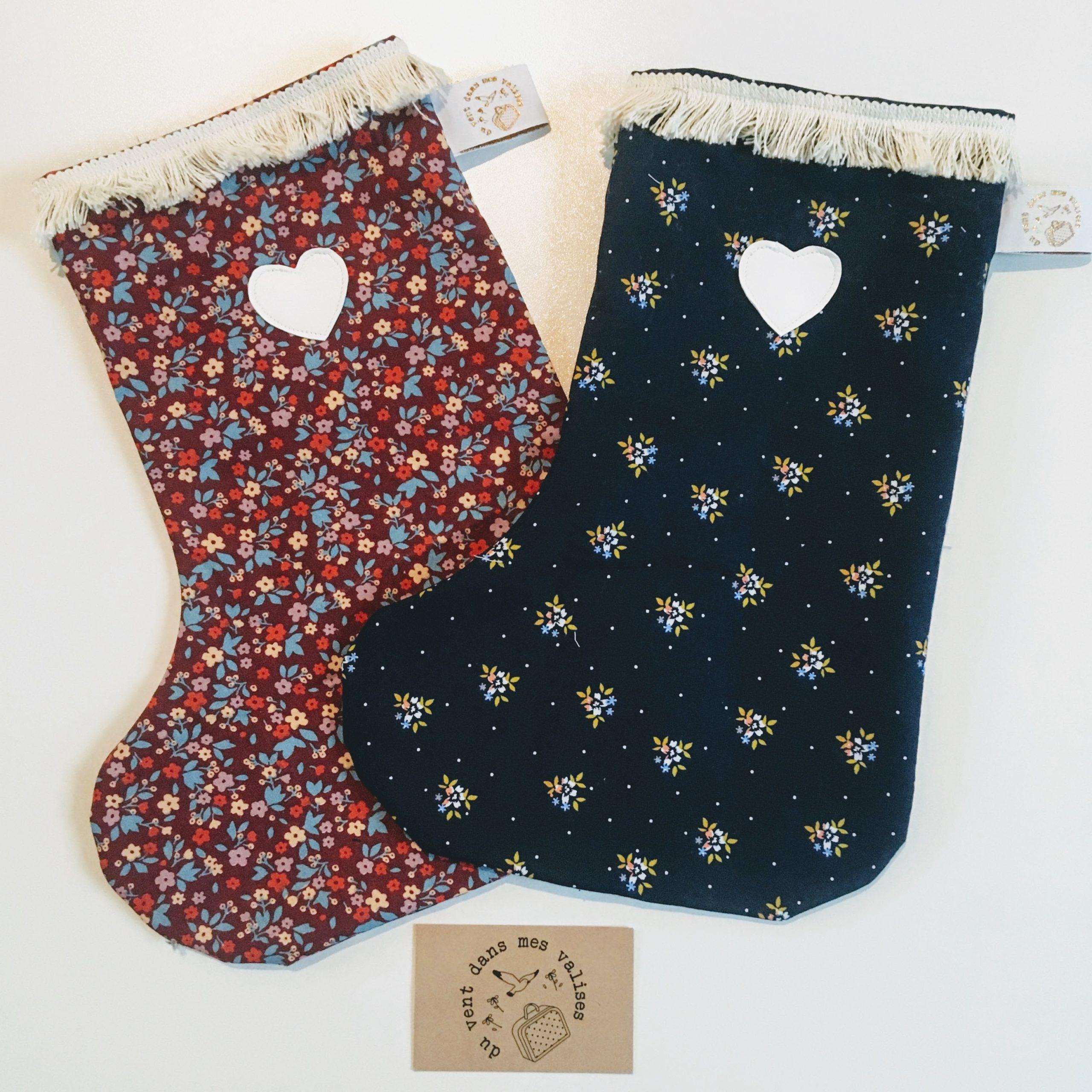 bottes de Noël traditionnel, durable et folk personnalisable en coton made in France - du vent dans mes valises