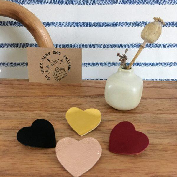 broche en cuir le joli coeur poétique made in France, collection coeurs en fête - du vent dans mes valises