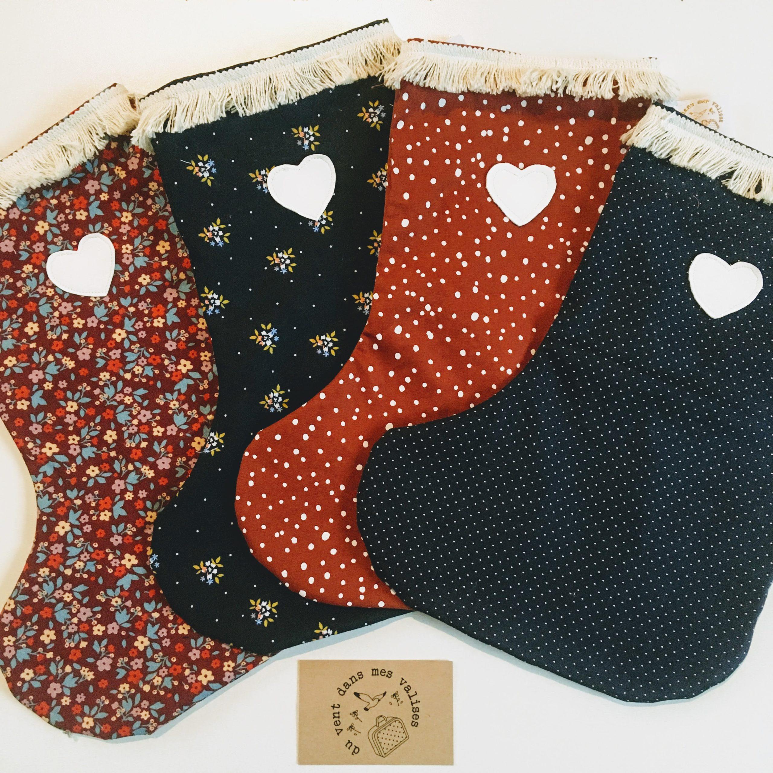 chaussettes de Noël made in France traditionnel, durable et folk personnalisable en coton - du vent dans mes valises