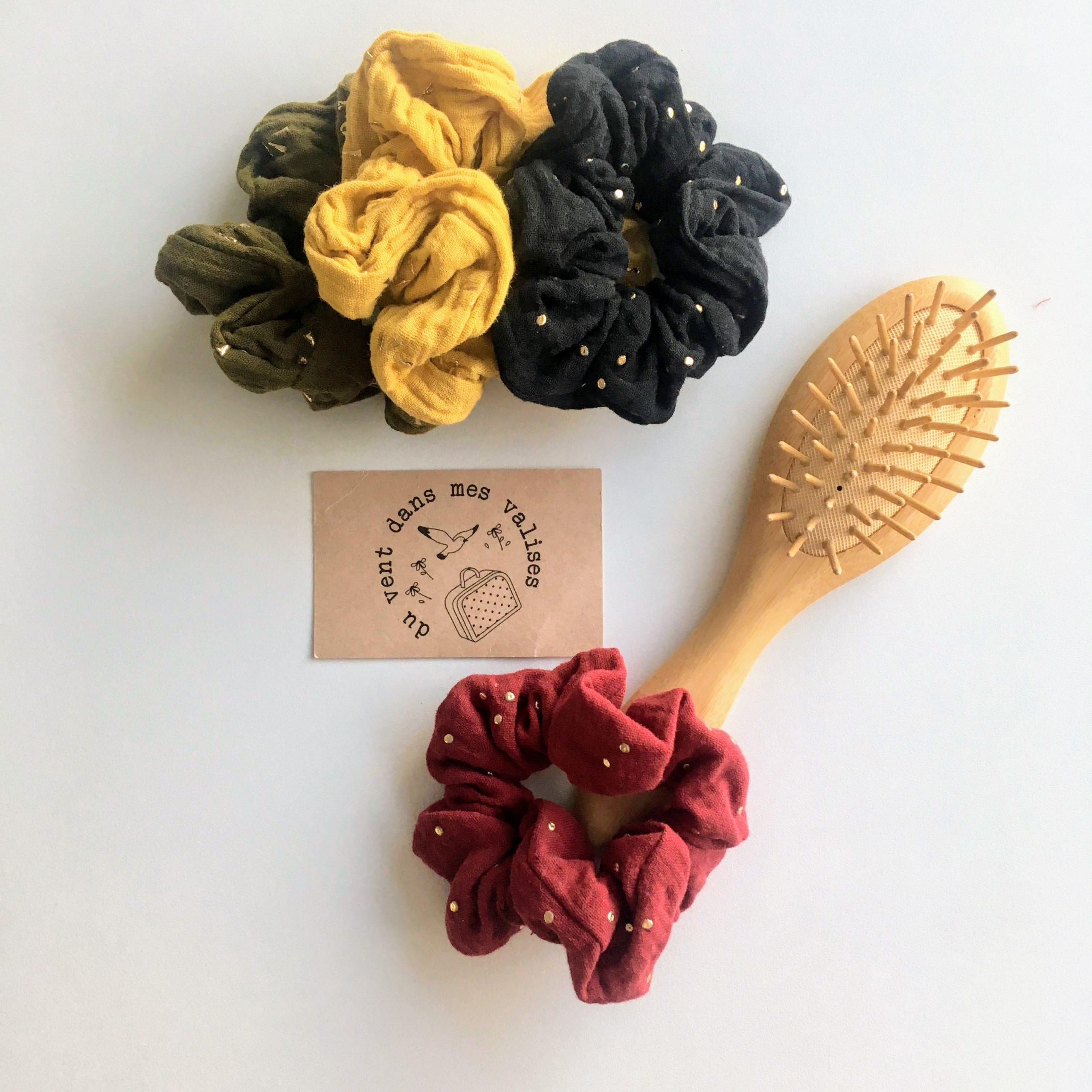 chouchou rouge grenat double gaze made in France coloris hiver - du vent dans mes valises