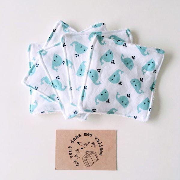lingettes écologiques coton lavables personnalisées - du vent dans mes valises