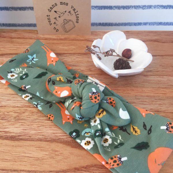 bandeaux extensibles et adaptables vert amande made in France en jersey de coton doux et moelleux pour l'hiver motifs sous bois - du vent dans mes valises