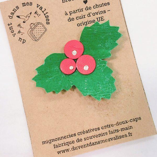barrettes fillettes accessoires noël hiver en cuir durable made in France - du vent dans mes valises