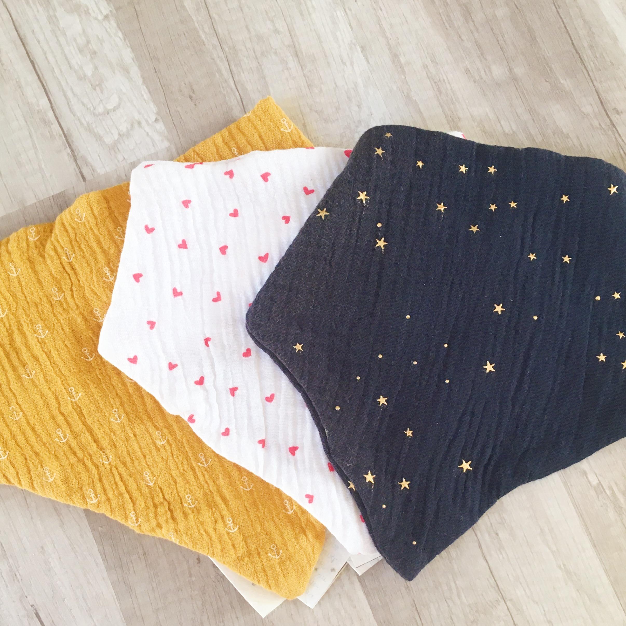 bavoir foulard bandana double gaze bébé enfant made in France - du vent dans mes valises