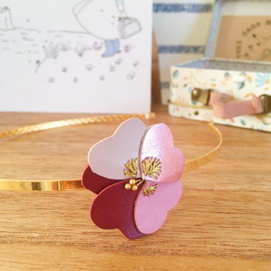 bijou de tête femme fleur cuir pensée brodée main made in france - du vent dans mes valises