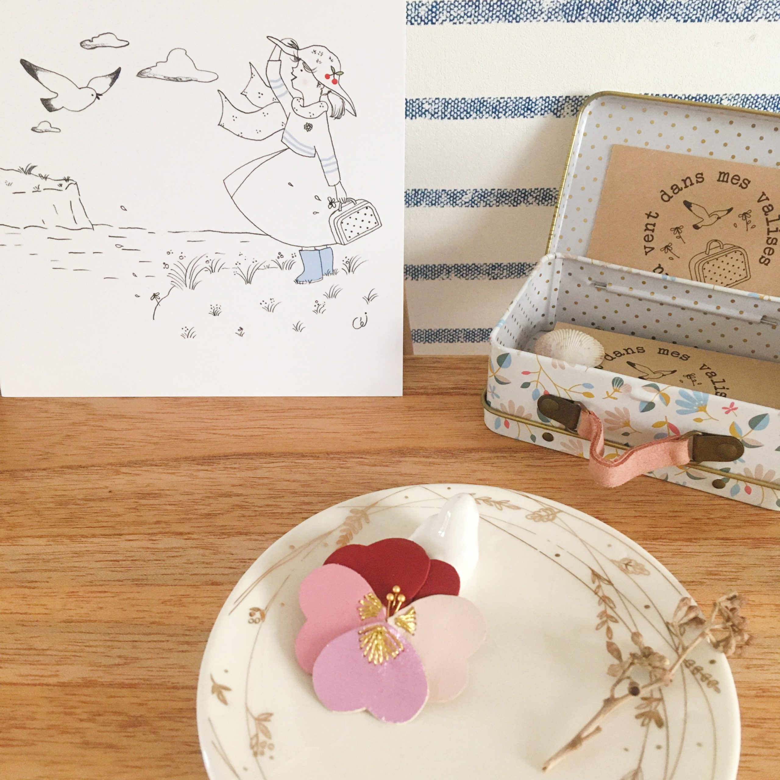 bijou poétique fleur pensée brodée main fil doré made in France - du vent dans mes valises