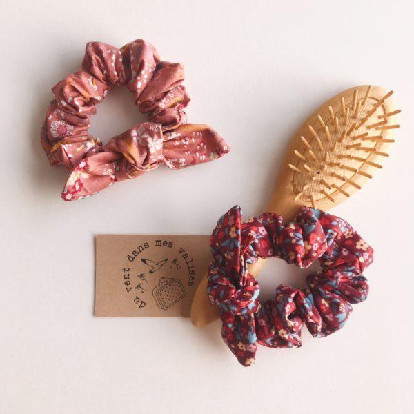 chouchou chou femme fleurs sauvages automne hiver 100 % coton noeud amovible- du vent dans mes valises