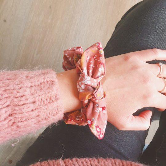 chouchou chou femme folk végétal vieux rose bordeaux automne hiver 100 % coton noeud amovible- du vent dans mes valises