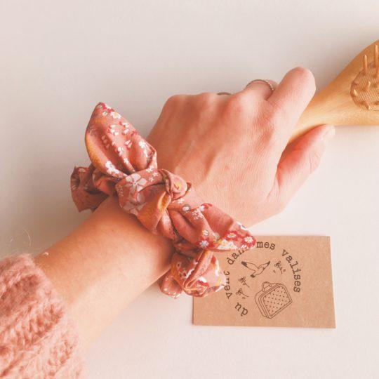 chouchou chou femme végétal vieux rose bordeaux automne hiver 100 % coton noeud amovible- du vent dans mes valises