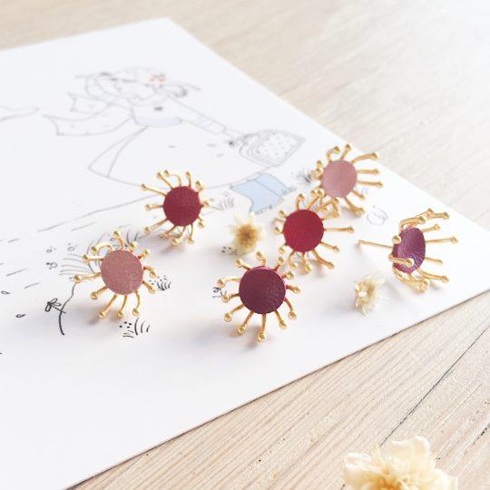 boucles d'oreilles bijoux poétiques fleurs du vent d'hiver couleurs baies - du vent dans mes valises
