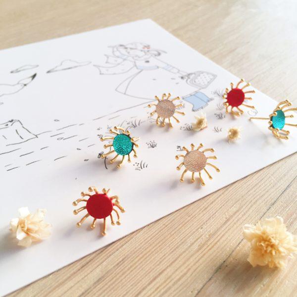 boucles d'oreilles cuir bijoux poétiques fleurs du vent d'hiver couleurs de fêtes - du vent dans mes valises