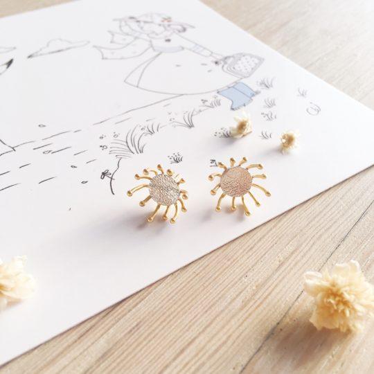 clous d'oreilles cuir bijoux poétiques fleurs du vent d'hiver argent - du vent dans mes valises