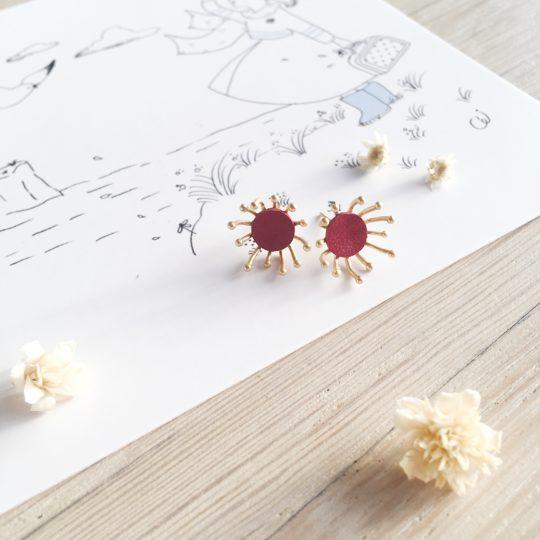 clous d'oreilles cuir bijoux poétiques fleurs du vent d'hiver bordeaux grenat - du vent dans mes valises
