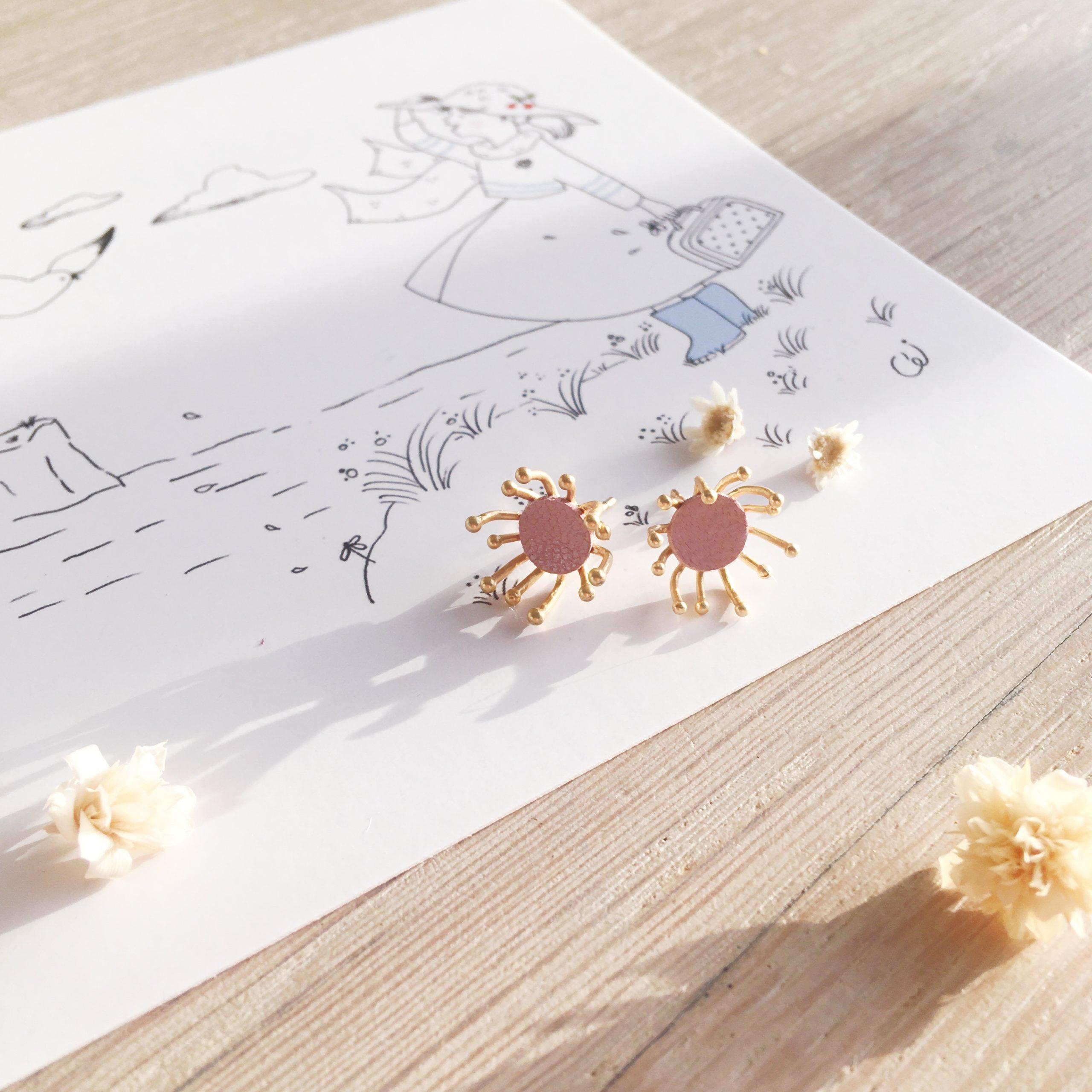 clous d'oreilles cuir bijoux poétiques fleurs du vent d'hiver rose glacé - du vent dans mes valises