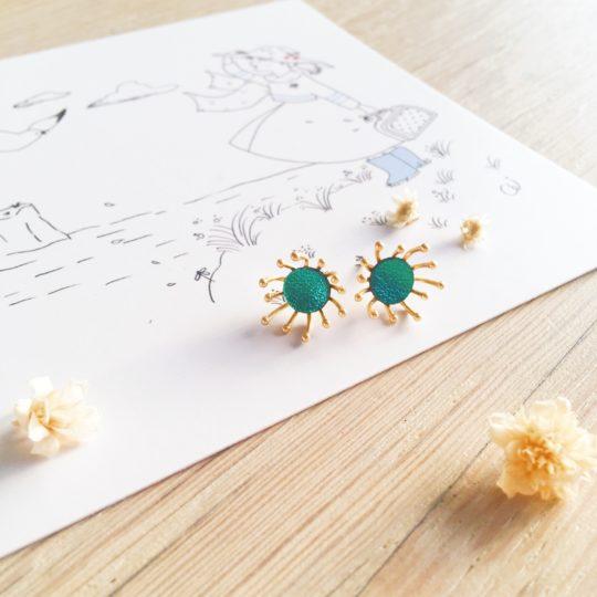 clous d'oreilles cuir bijoux poétiques fleurs du vent d'hiver vert émeraude - du vent dans mes valises