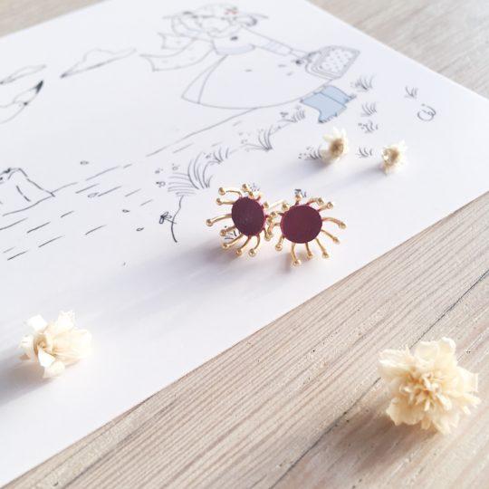 clous d'oreilles cuir bijoux poétiques fleurs du vent d'hiver violet prune - du vent dans mes valises