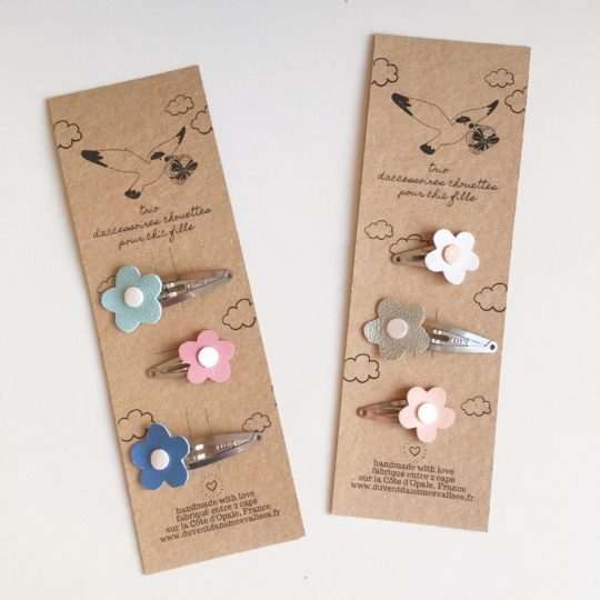 set de barrettes made in france fabrication artisanale cuir durable upcycled ecofriendly blanc or rose - du vent dans mes valises