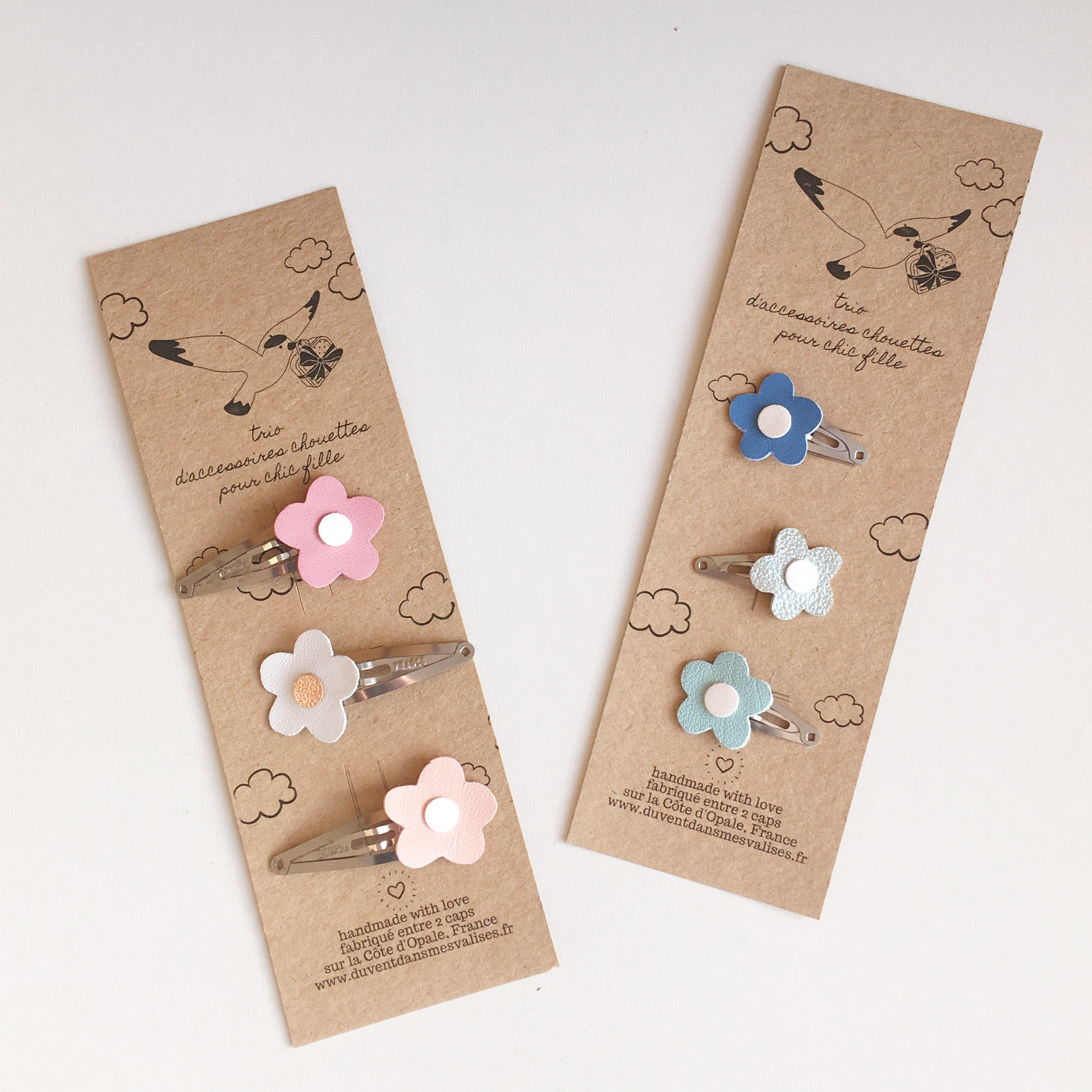trio de barrettes made in france fabrication artisanale cuir durable upcycled ecofriendly blanc or rose - du vent dans mes valises