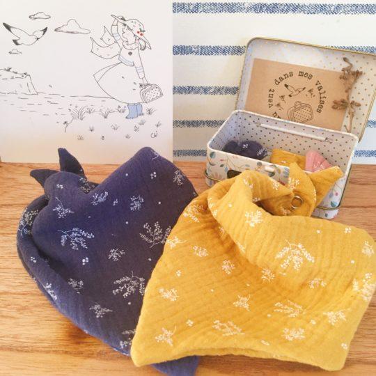bandana bébé made in France double gaze imprimé végétal graciles graminées - du vent dans mes valises