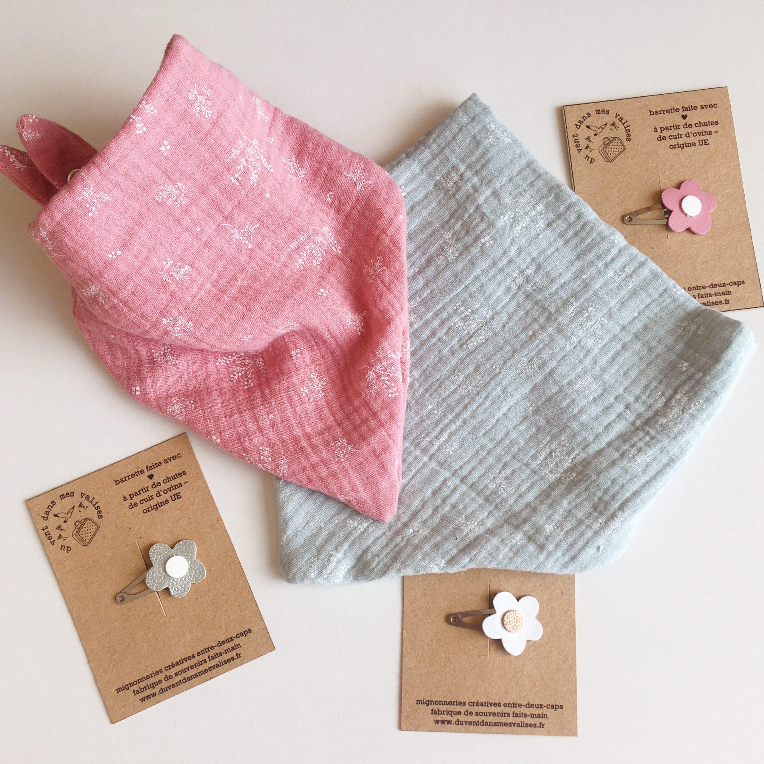 bandanas bébé made in France double gaze imprimé végétal graciles graminées - du vent dans mes valises