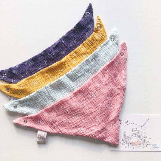 bandanas bébés made in France double gaze imprimé végétal graciles graminées - du vent dans mes valises