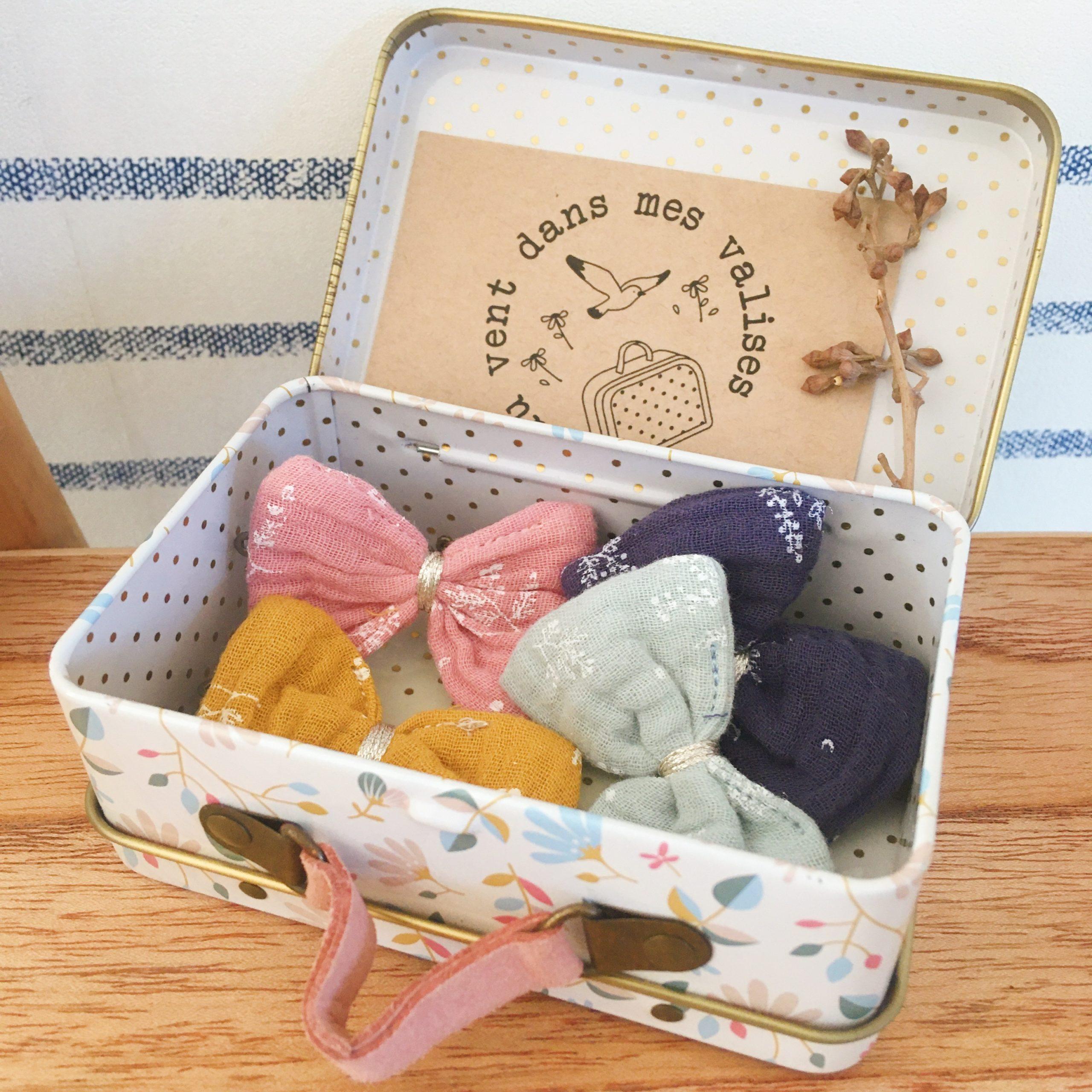barrettes fillettes fabrication française noeud en double gaze motifs végétal - du vent dans mes valises