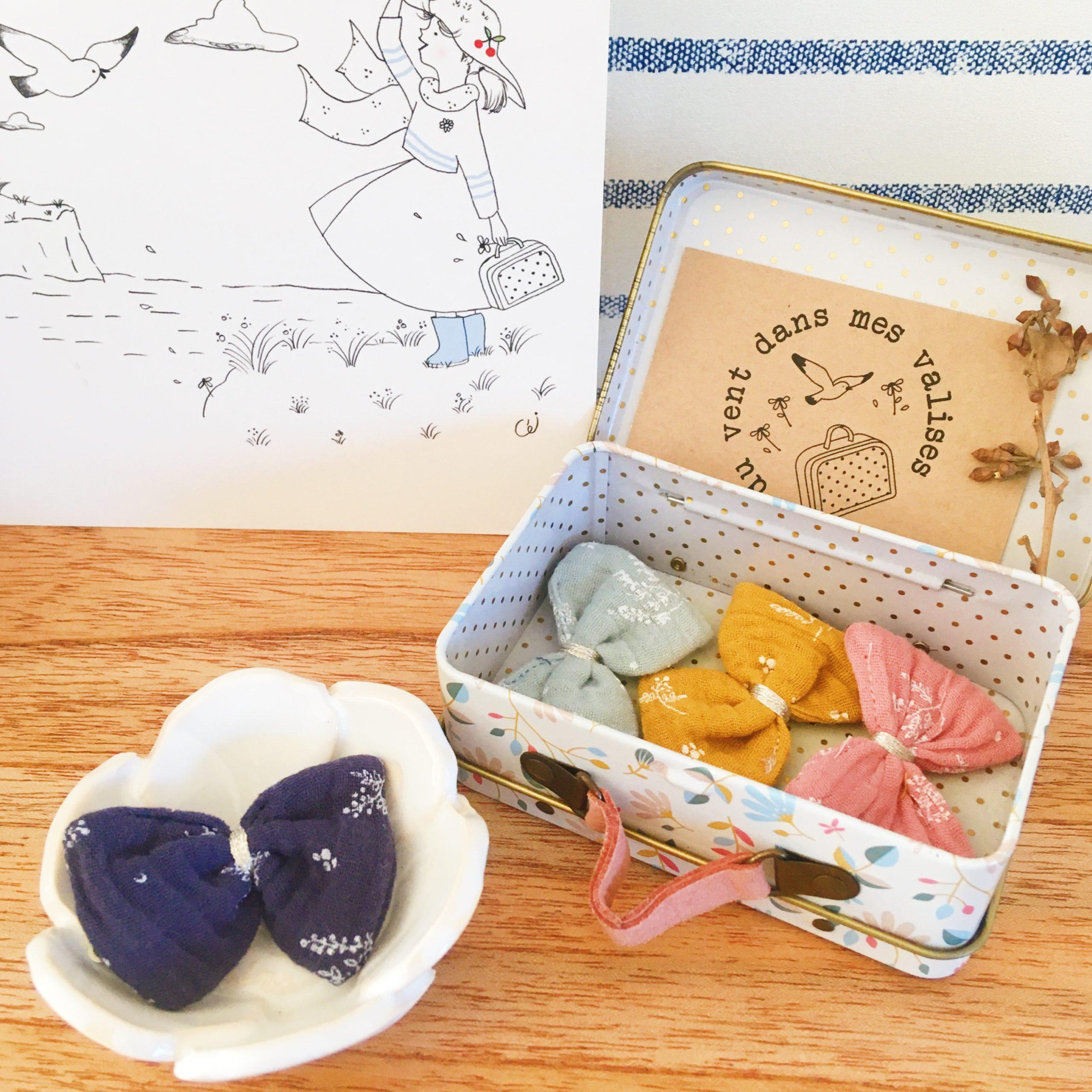 barrettes fillettes made in france noeud en double gaze motifs végétal bleu marine - du vent dans mes valises