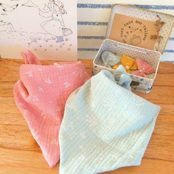 bavette bébé made in France double gaze imprimé végétal graciles graminées - du vent dans mes valises